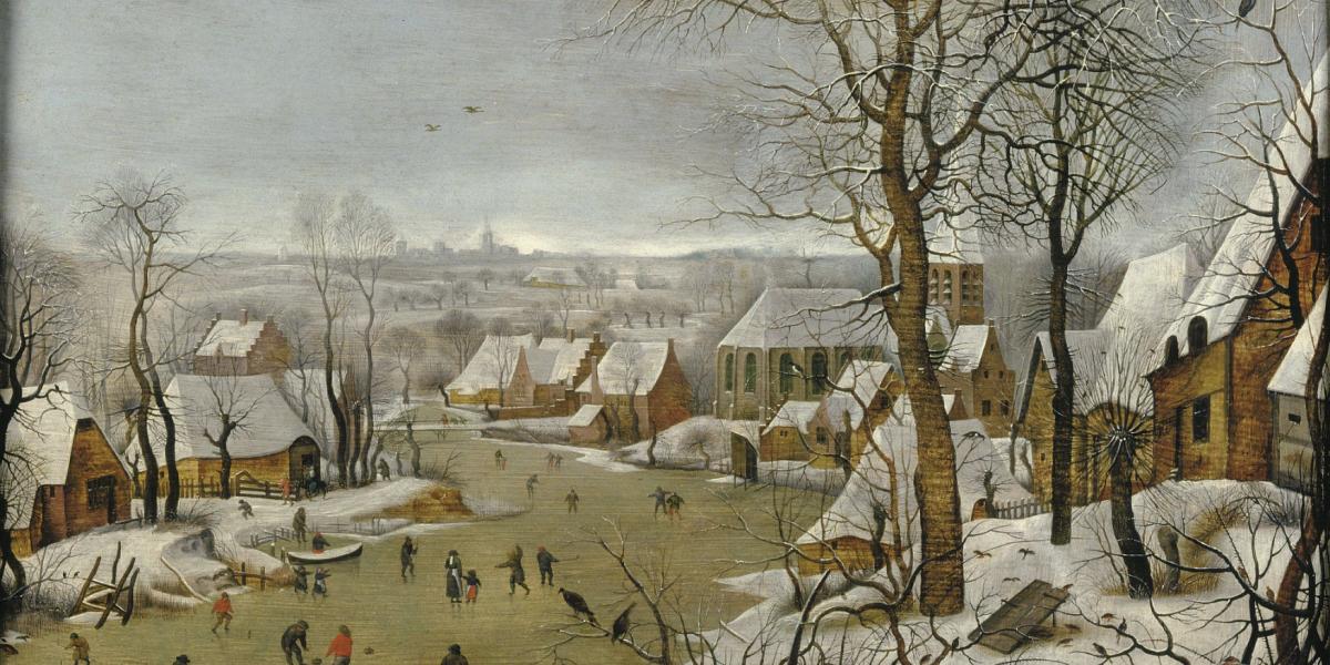 Paysage d'hiver avec trappe aux oiseaux